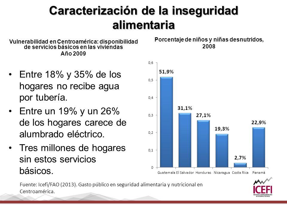 Caracterización de la inseguridad alimentaria Vulnerabilidad en Centroamérica: disponibilidad de servicios básicos en las viviendas Año 2009 Porcentaje de niños y niñas desnutridos, 2008 Entre 18% y 35% de los hogares no recibe agua por tubería.