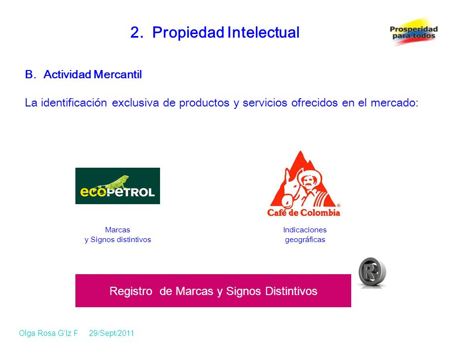 B. Actividad Mercantil La identificación exclusiva de productos y servicios ofrecidos en el mercado: 2. Propiedad Intelectual Registro de Marcas y Sig