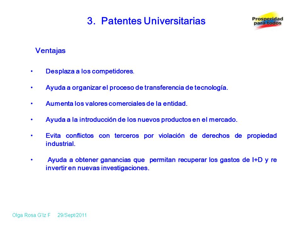 3.Patentes Universitarias Desplaza a los competidores.