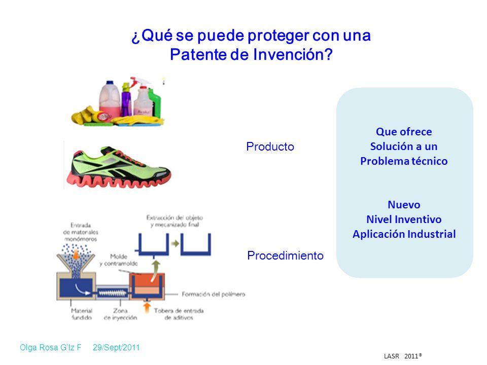 LASR 2011® Producto Procedimiento ¿Qué se puede proteger con una Patente de Invención.
