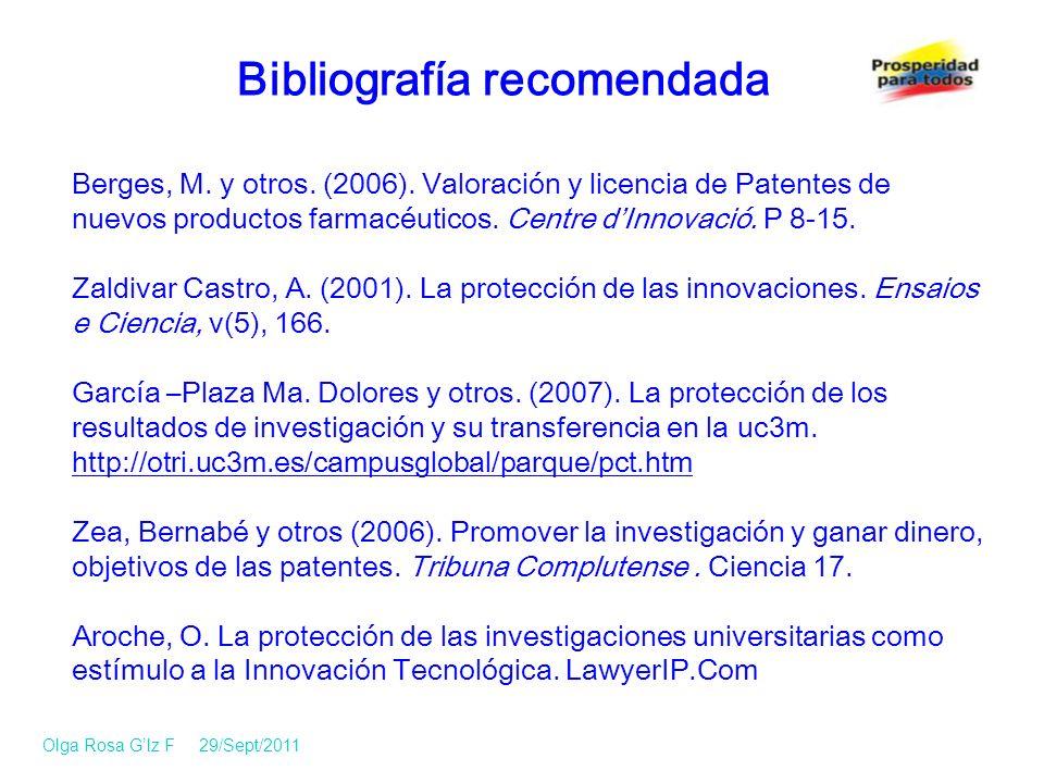 Berges, M.y otros. (2006). Valoración y licencia de Patentes de nuevos productos farmacéuticos.