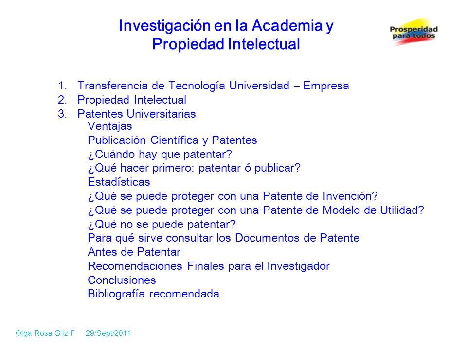 1.Transferencia de Tecnología Universidad – Empresa 2.