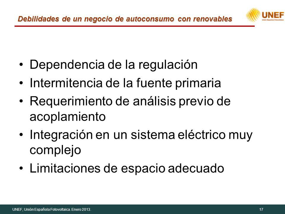 UNEF, Unión Española Fotovoltaica. Enero 2013.17 Debilidades de un negocio de autoconsumo con renovables Dependencia de la regulación Intermitencia de