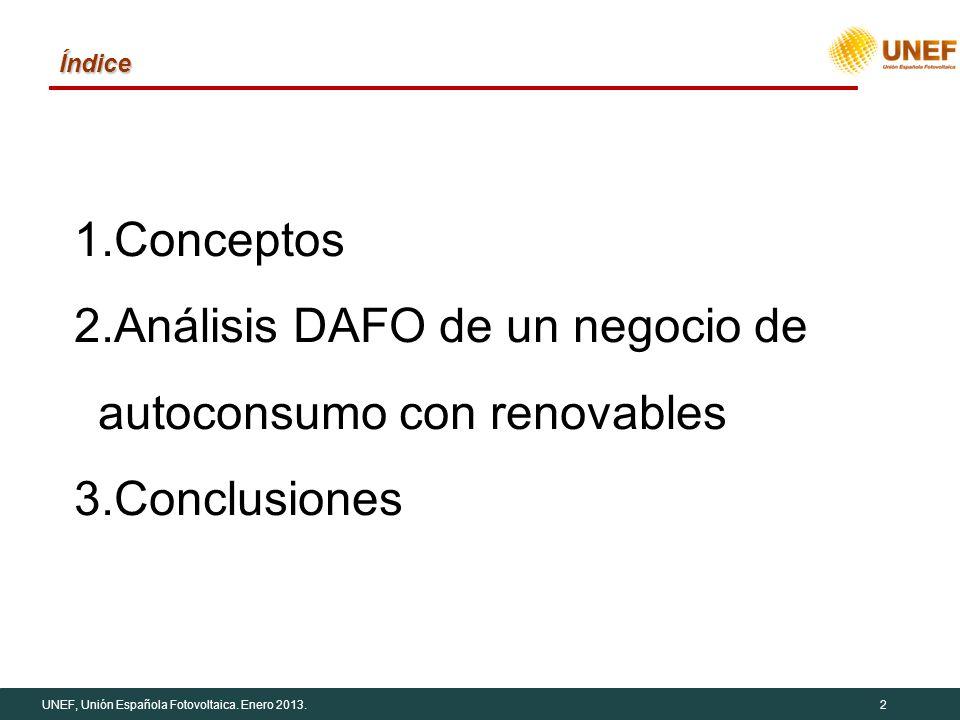 UNEF, Unión Española Fotovoltaica. Enero 2013.2 Índice 1.Conceptos 2.Análisis DAFO de un negocio de autoconsumo con renovables 3.Conclusiones