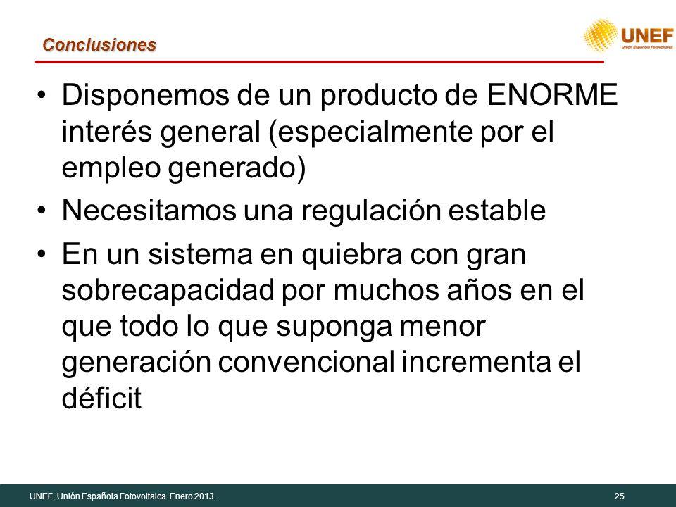 UNEF, Unión Española Fotovoltaica. Enero 2013.25 Conclusiones Disponemos de un producto de ENORME interés general (especialmente por el empleo generad