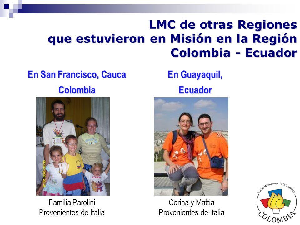 Viviana y Copi Provenientes de Portugal LMC de otras Regiones que asumen ahora la Misión en la Región Colombia - Ecuador
