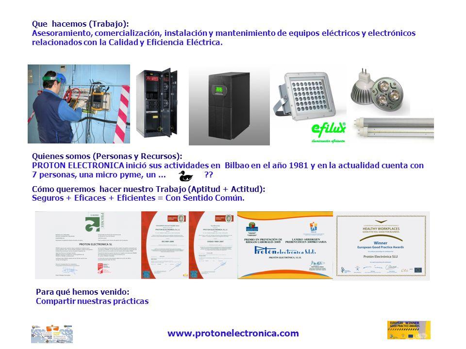Que hacemos (Trabajo): Asesoramiento, comercialización, instalación y mantenimiento de equipos eléctricos y electrónicos relacionados con la Calidad y Eficiencia Eléctrica.