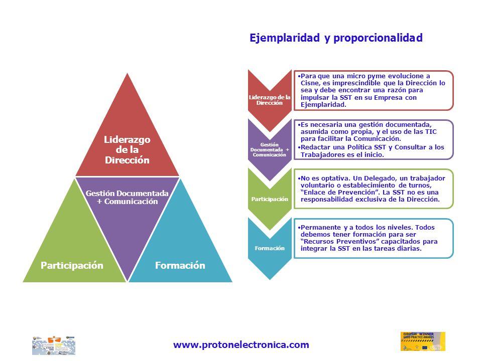 www.protonelectronica.com Liderazgo de la Dirección Gestión Documentada + Comunicación ParticipaciónFormación Liderazgo de la Dirección Para que una m