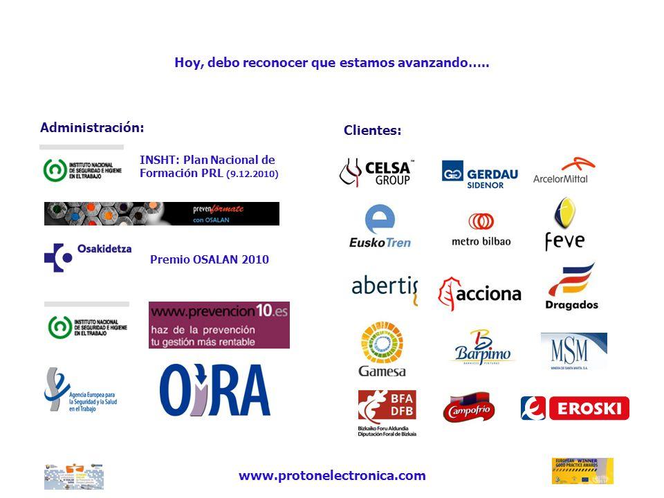 Hoy, debo reconocer que estamos avanzando….. Administración: Clientes: www.protonelectronica.com INSHT: Plan Nacional de Formación PRL (9.12.2010) Pre