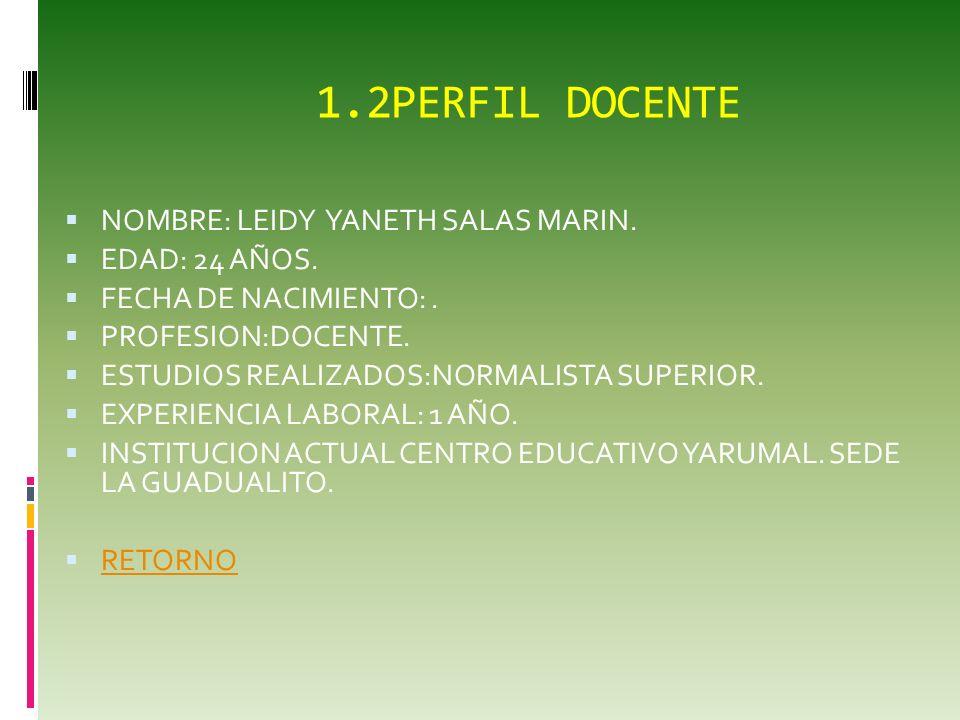1.perfil docente NOMBRE : MAGDA NAYIBE BOHORQUEZ HERRERA. EDAD: 30 AÑOS. FECHA DE NACIMIENTO:09 DE ENERO DE 1981. PROFESION: TECNOLOGA GESTION CONTABL