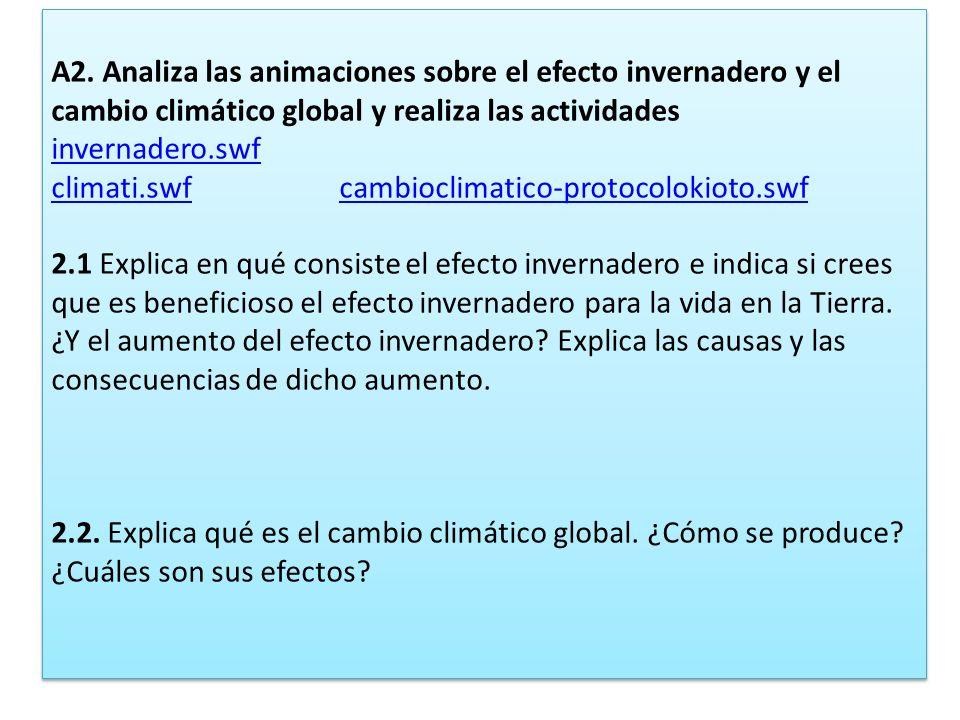 A2. Analiza las animaciones sobre el efecto invernadero y el cambio climático global y realiza las actividades invernadero.swf climati.swfcambioclimat