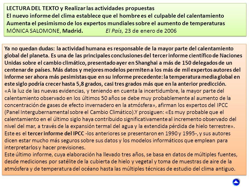 Otros recursos en la Red: ORGANIZACIÓN DE ESTADOS IBEROAMERICANOS (OEI).Década por una Educación para la sostenibilidad: http://www.oei.es/decada/accion.php?accion=17 PORTAL DE NACIONES UNIDAS PARA EL CAMBIO CLIMÁTICO: http://www.un.org/wcm/content/site/climatechange/lang/es/pages/gateway/ Recursos TIC en Educación ambiental y Sostenibilidad: http://www.congresocambioclimatico.com/cariboost_files/14_- _20Conferencia_20Recursos_20TIC_20en_20educaci_C3_B3n_20ambiental.pdfDécada por una Educación para la sostenibilidadhttp://www.oei.es/decada/accion.php?accion=17 PORTAL DE NACIONES UNIDAS PARA EL CAMBIO CLIMÁTICO http://www.un.org/wcm/content/site/climatechange/lang/es/pages/gateway/ http://www.congresocambioclimatico.com/cariboost_files/14_- _20Conferencia_20Recursos_20TIC_20en_20educaci_C3_B3n_20ambiental.pdf WWFWWF: http://www.wwf.es/ WWF-Cambio climático: http://www.wwf.es/que_hacemos/cambio_climatico/ http://www.wwf.es/?20245/WWF-denuncia-que-nucleares-y-carbn-siguen-liderando-la- generacin-de-electricidad-en-Espanahttp://www.wwf.es/ http://www.wwf.es/que_hacemos/cambio_climatico/ http://www.wwf.es/?20245/WWF-denuncia-que-nucleares-y-carbn-siguen-liderando-la- generacin-de-electricidad-en-Espana Instituto Tecnológico de Canarias (ITC)Instituto Tecnológico de Canarias (ITC): http://www.itccanarias.org/web/ Instituto Tecnológico y de Energías Renovables (ITER): http://www.iter.es/index.html Prevención de riesgo volcánico en Canarias: : http://www.volcanesdecanarias.com/interna/conocenos.htm WebQuest:Cambio climático Web Quest: Los residuos sólidos urbanos: http://biologiaygeologia.org/unidadbio/webquest/residuos/index.htmlhttp://www.itccanarias.org/web/ Instituto Tecnológico y de Energías Renovables (ITER)http://www.iter.es/index.html Prevención de riesgo volcánico en Canarias http://www.volcanesdecanarias.com/interna/conocenos.htmCambio climático Web Quest: Los residuos sólidos urbanos http://biologiaygeologia.org/unidadbio/webquest/residuos/index.html Canal de You