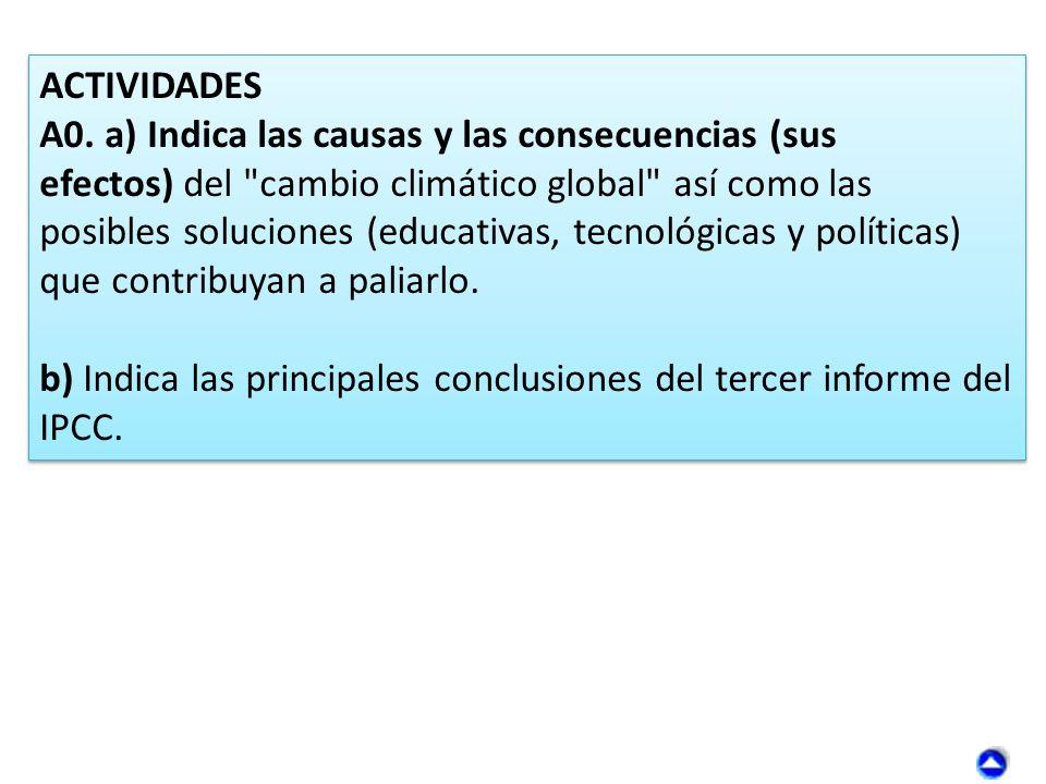 ACTIVIDADES A0. a) Indica las causas y las consecuencias (sus efectos) del