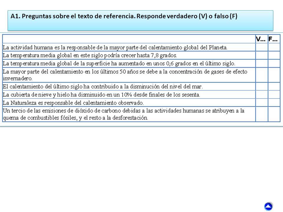A1. Preguntas sobre el texto de referencia. Responde verdadero (V) o falso (F)