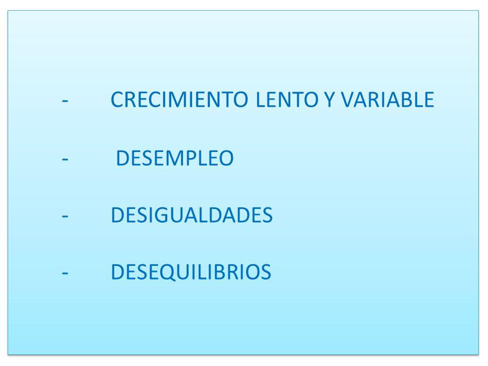 - CRECIMIENTO LENTO Y VARIABLE - DESEMPLEO -DESIGUALDADES -DESEQUILIBRIOS