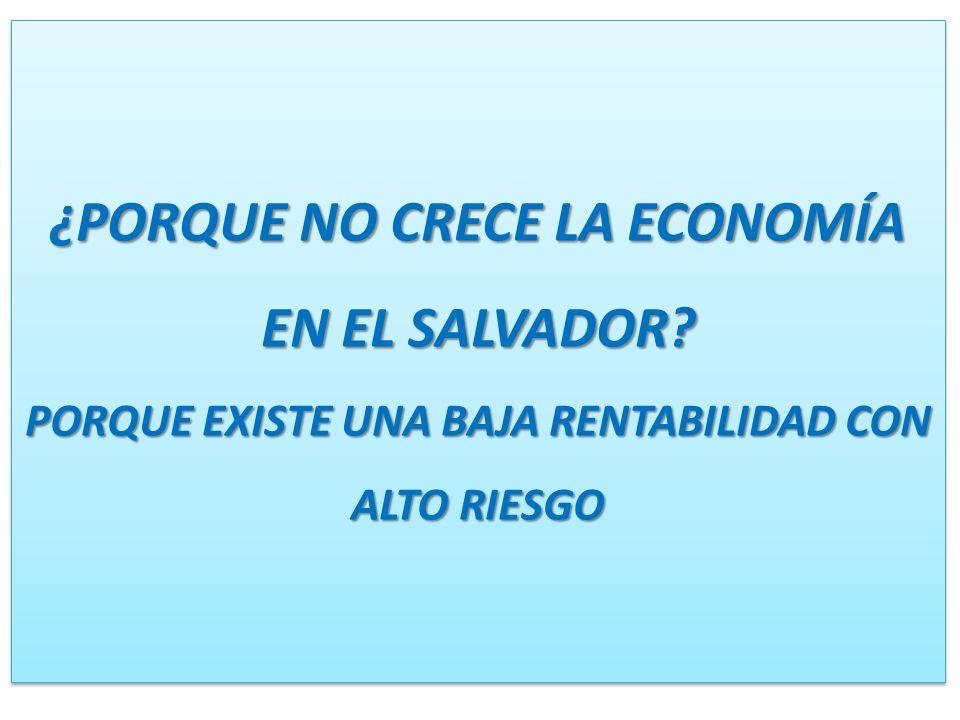 ¿PORQUE NO CRECE LA ECONOMÍA EN EL SALVADOR? PORQUE EXISTE UNA BAJA RENTABILIDAD CON ALTO RIESGO