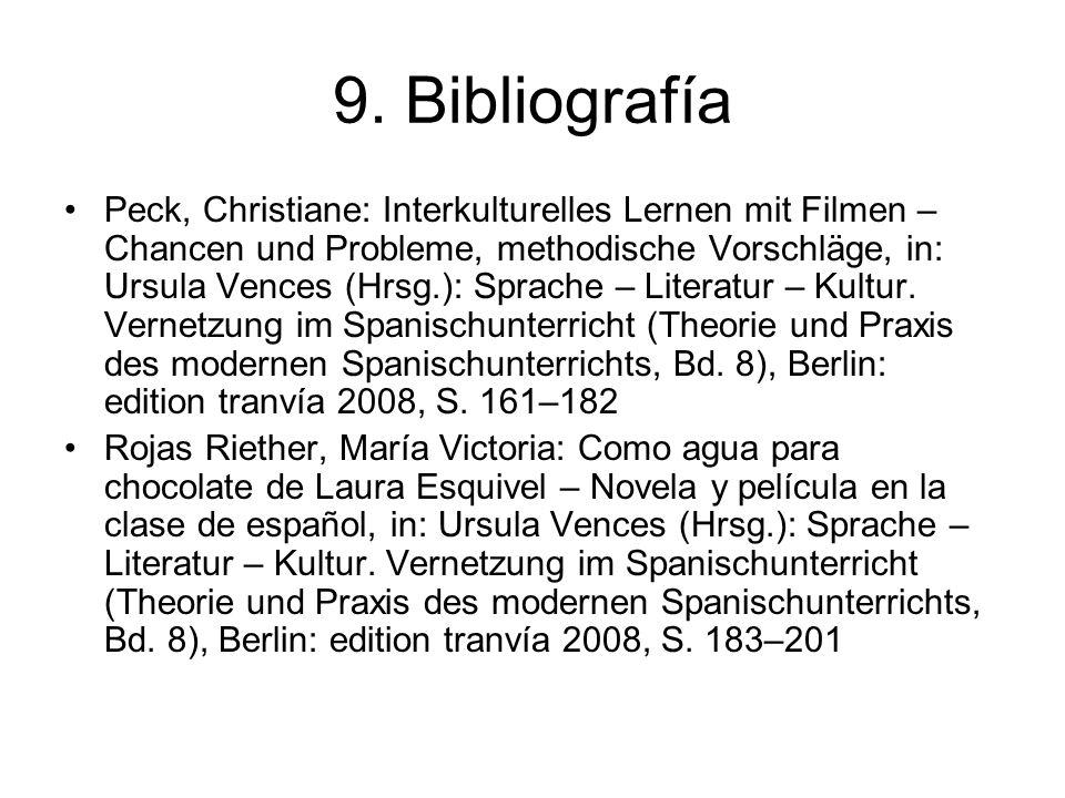 9. Bibliografía Peck, Christiane: Interkulturelles Lernen mit Filmen – Chancen und Probleme, methodische Vorschläge, in: Ursula Vences (Hrsg.): Sprach