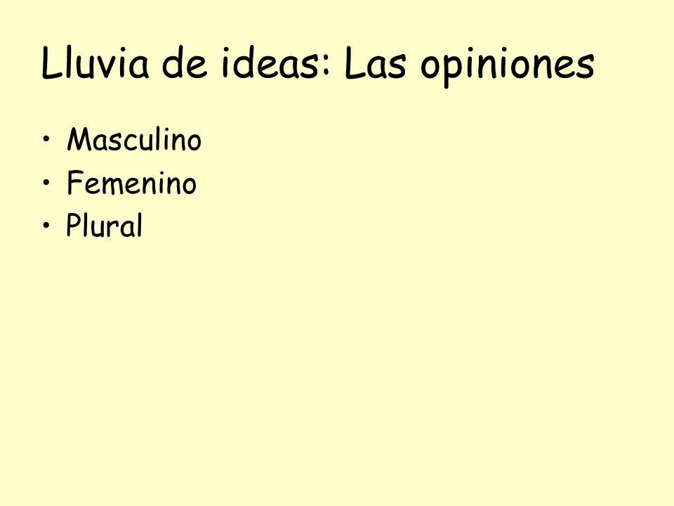 Lluvia de ideas: Las opiniones Masculino Femenino Plural