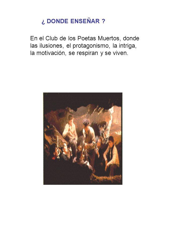 En el Club de los Poetas Muertos, donde las ilusiones, el protagonismo, la intriga, la motivación, se respiran y se viven.