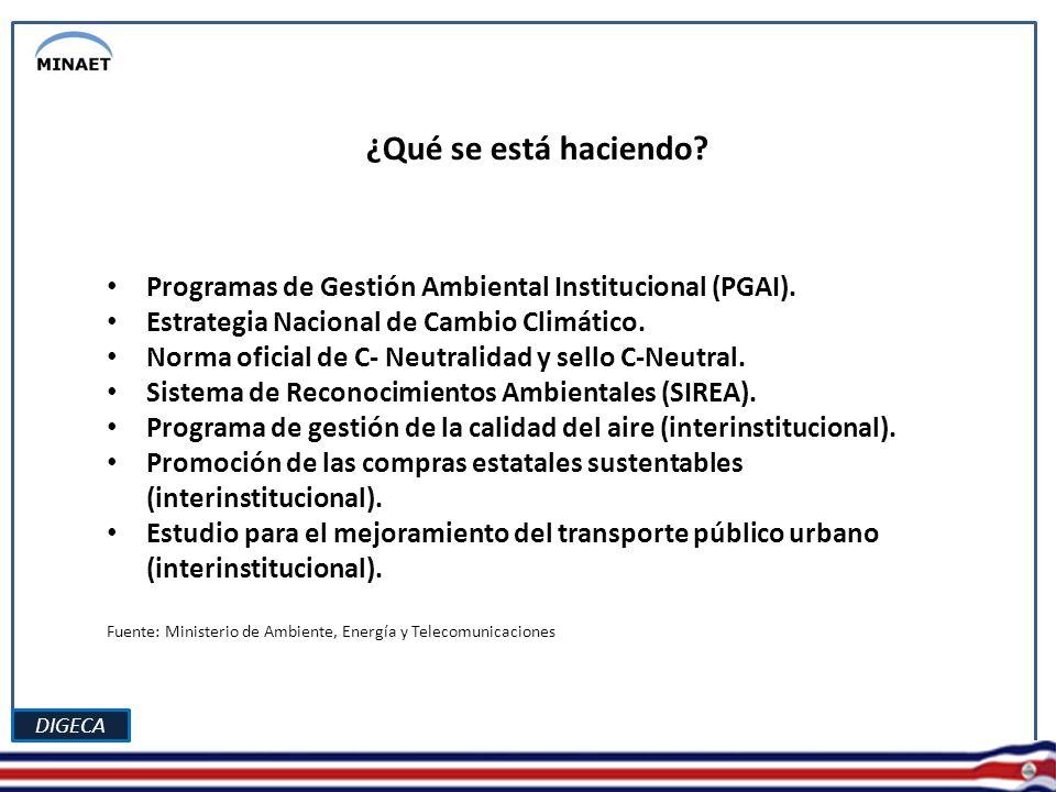 DIGECA ¿Qué se está haciendo. Programas de Gestión Ambiental Institucional (PGAI).