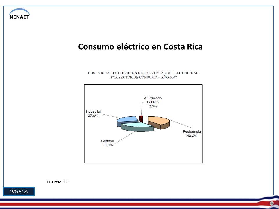 DIGECA Fuente: ICE Distribución del consumo energético. Sector público.