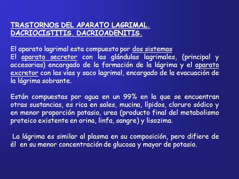 Dacriocistitis: Es la inflamación del saco lagrimal, puede ser aguda o crónica.