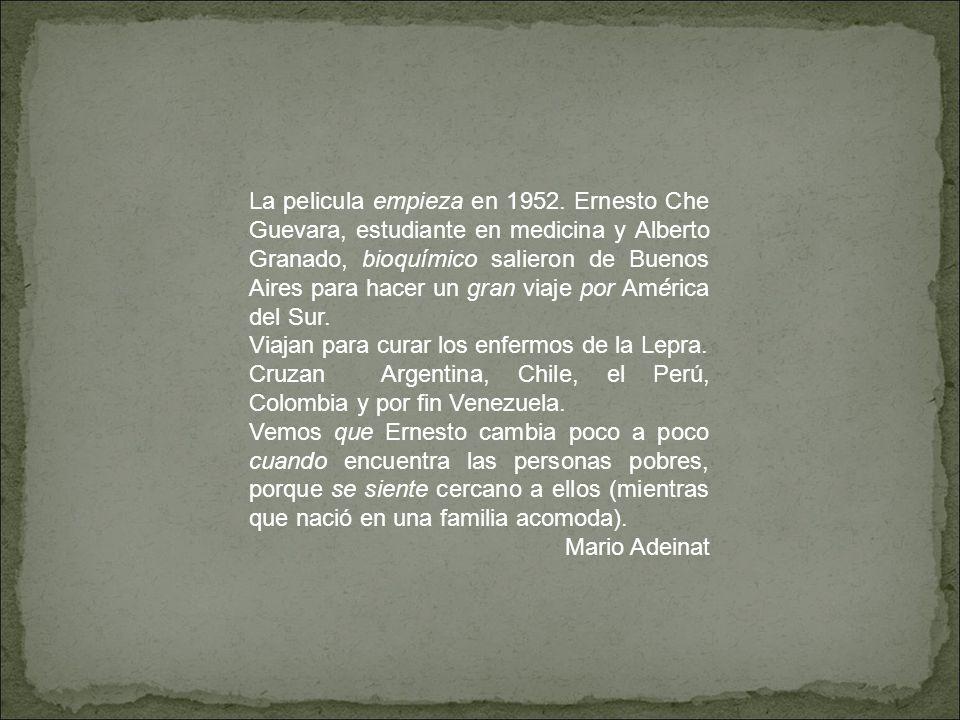 La pelicula empieza en 1952. Ernesto Che Guevara, estudiante en medicina y Alberto Granado, bioquímico salieron de Buenos Aires para hacer un gran via