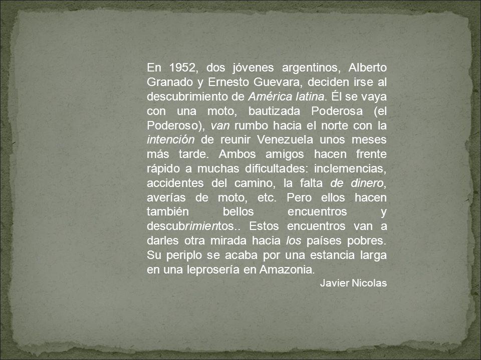 En 1952, dos jóvenes argentinos, Alberto Granado y Ernesto Guevara, deciden irse al descubrimiento de América latina. Él se vaya con una moto, bautiza
