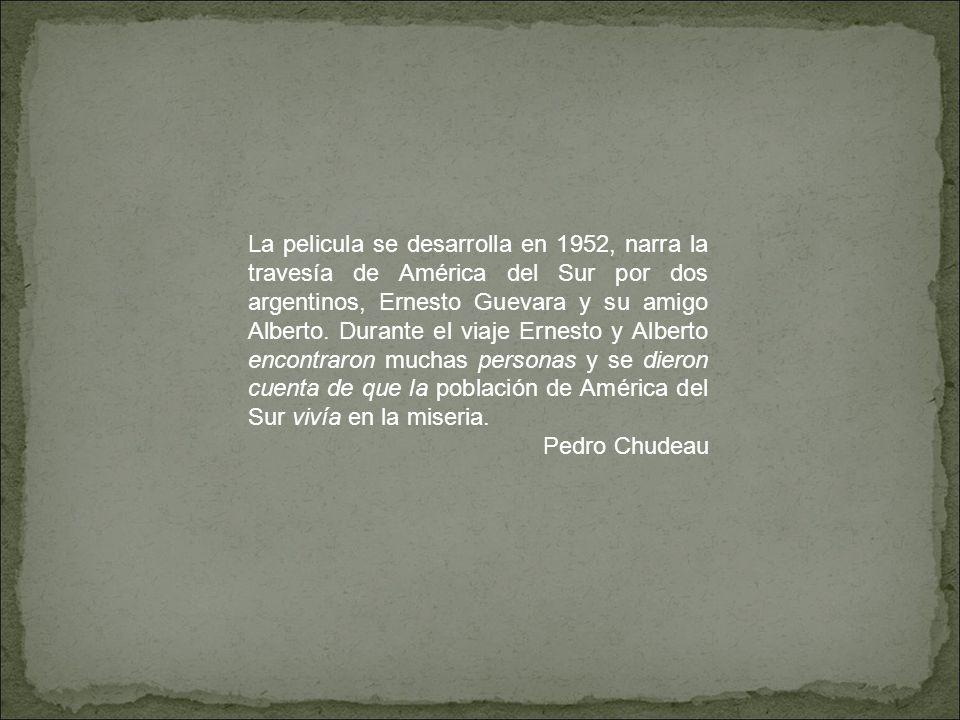 La pelicula se desarrolla en 1952, narra la travesía de América del Sur por dos argentinos, Ernesto Guevara y su amigo Alberto. Durante el viaje Ernes