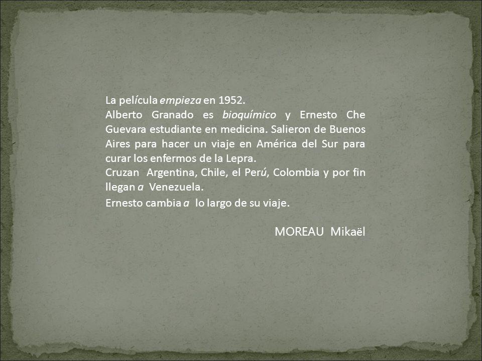 La película empieza en 1952. Alberto Granado es bioquímico y Ernesto Che Guevara estudiante en medicina. Salieron de Buenos Aires para hacer un viaje