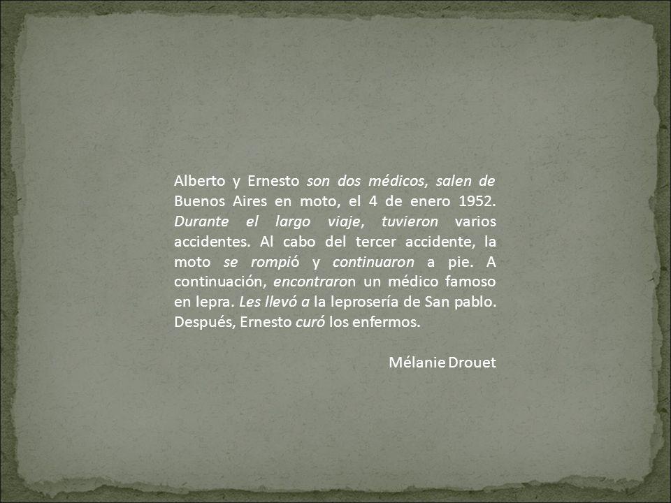 Alberto y Ernesto son dos médicos, salen de Buenos Aires en moto, el 4 de enero 1952. Durante el largo viaje, tuvieron varios accidentes. Al cabo del