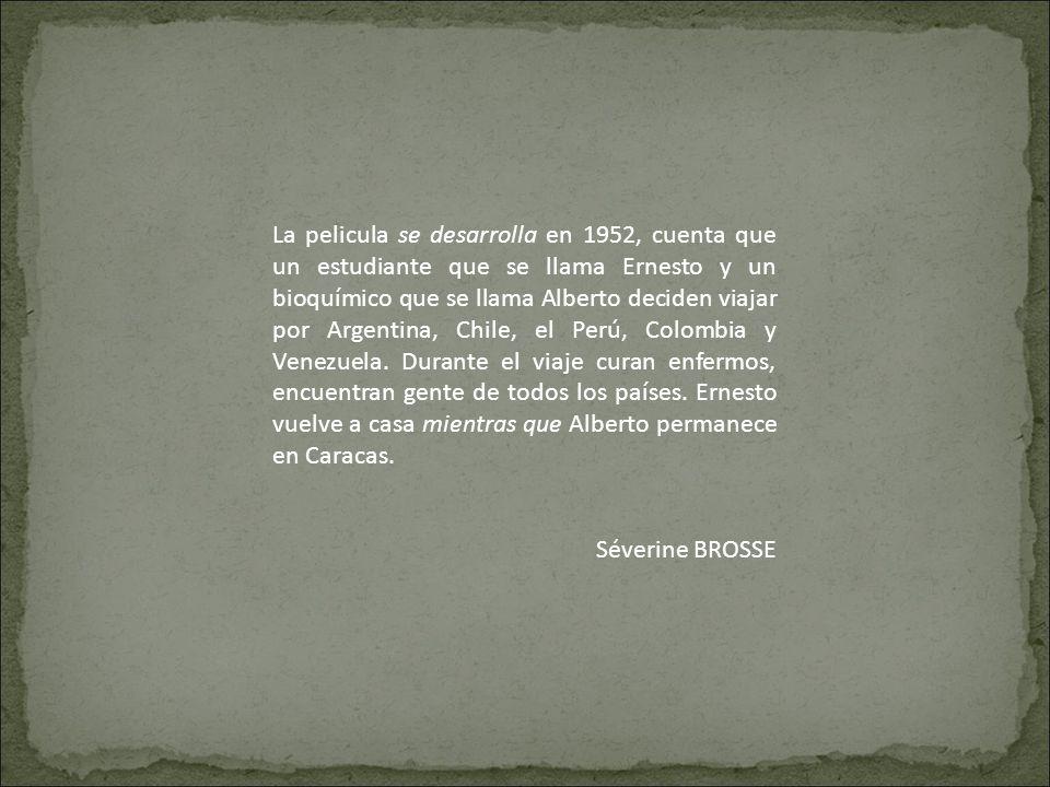 La pelicula se desarrolla en 1952, cuenta que un estudiante que se llama Ernesto y un bioquímico que se llama Alberto deciden viajar por Argentina, Ch