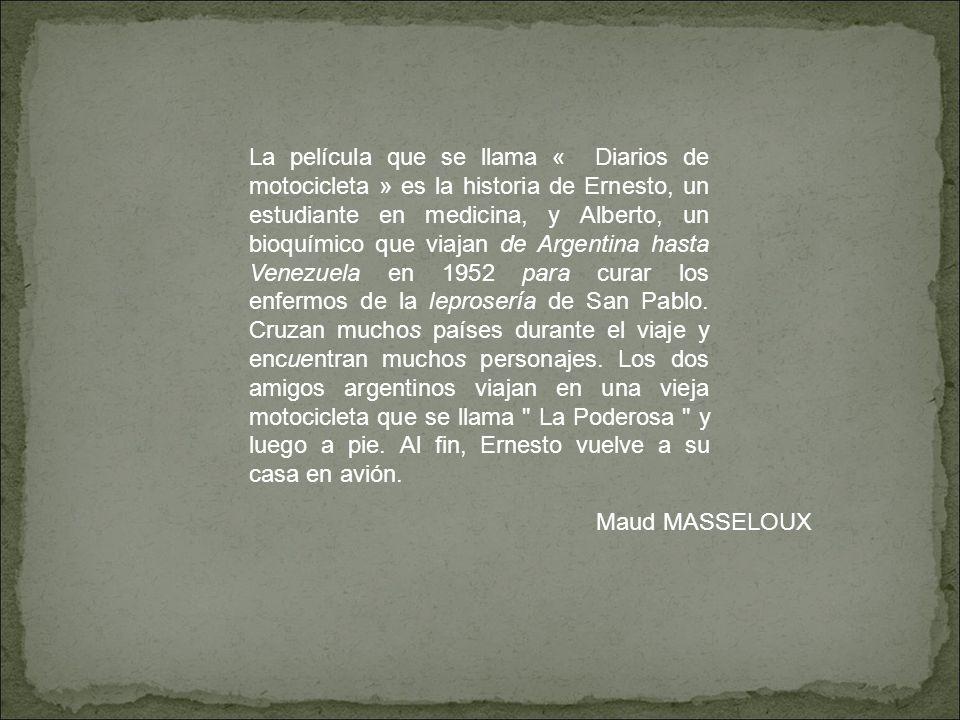 La pelicula se desarrolla en 1952, narra la travesía de América del Sur por dos argentinos, Ernesto Guevara y su amigo Alberto.
