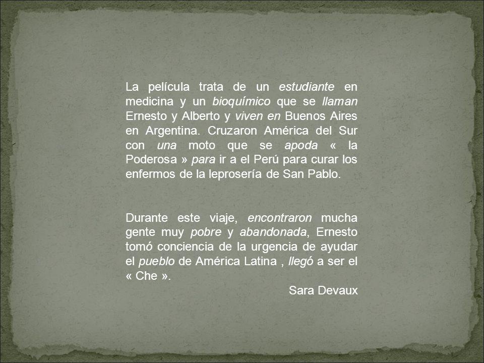 En 1952, un estudiante,Ernesto, y un bioquímico, Alberto, viajan por américa latina en moto para curar los enfermos de leprosería de San Pablo.