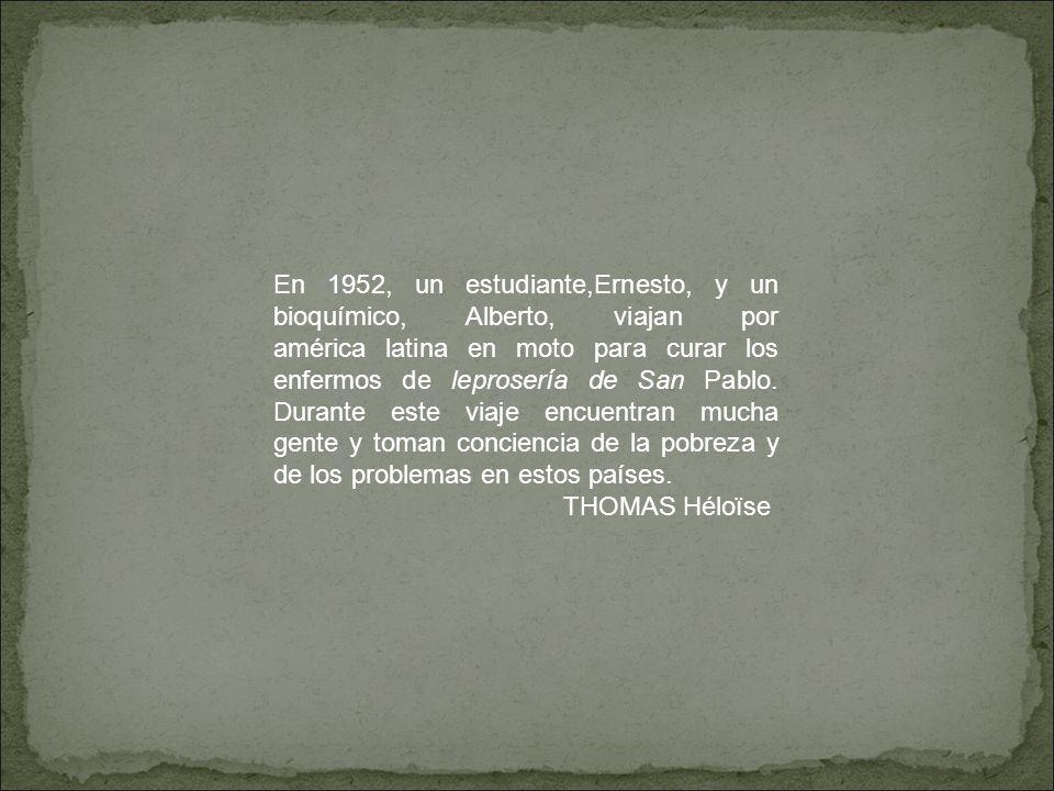 En la pelicula, en 1952 Ernesto Guevara era un estudiante en medicina y Alberto era un bioquímico, salieron de Buenos Aires para viajar a Chile, el Perù, Colombia y Venezuela en motocicleta.Viajaron para encontrar enfermeros de la Lepra y curarles.