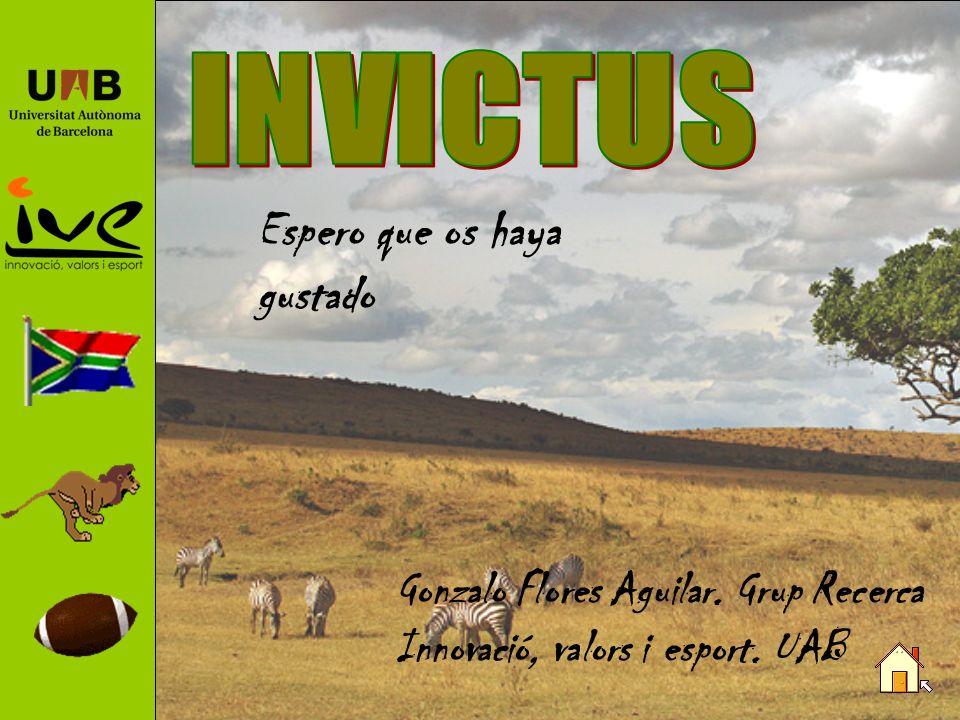 La película La película Invictus, protagonizada por Morgan Freeman y Matt Damon, revive la historia de cómo Nelson Mandela y el capitán del equipo de rugby de Sudáfrica se unen para luchar por la unión de su país.
