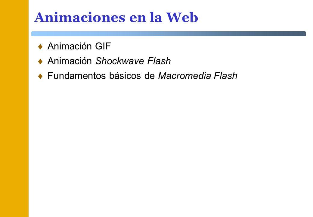 Animaciones en la Web Animación GIF Animación Shockwave Flash Fundamentos básicos de Macromedia Flash