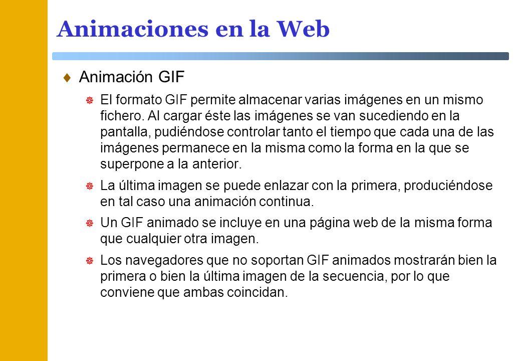 Animaciones en la Web Animación GIF El formato GIF permite almacenar varias imágenes en un mismo fichero. Al cargar éste las imágenes se van sucediend