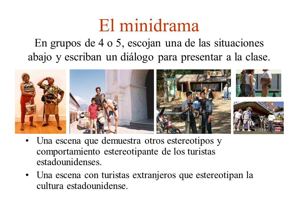 El minidrama En grupos de 4 o 5, escojan una de las situaciones abajo y escriban un diálogo para presentar a la clase. Una escena que demuestra otros