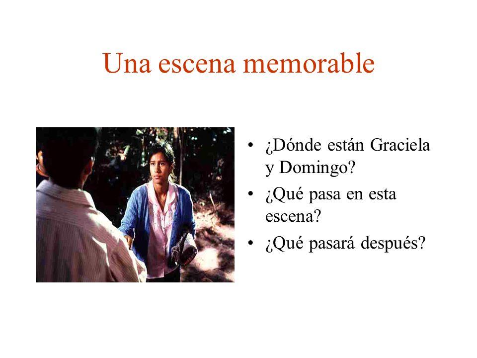 Una escena memorable ¿Dónde están Graciela y Domingo? ¿Qué pasa en esta escena? ¿Qué pasará después?
