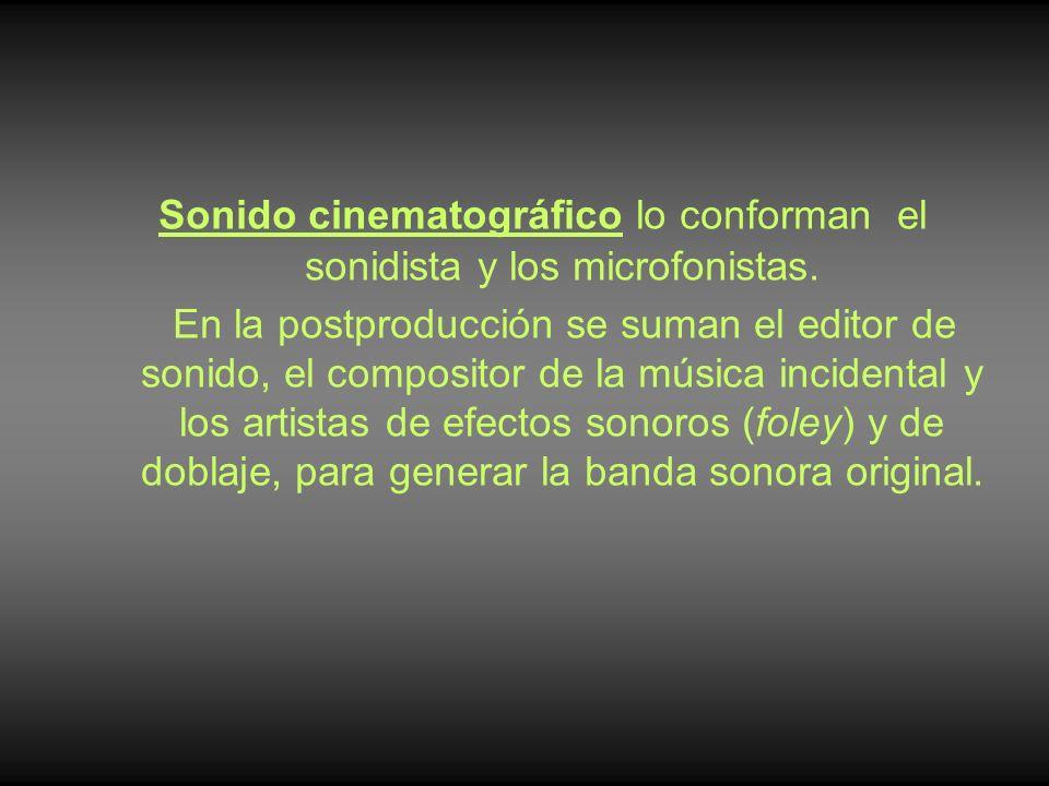 Sonido cinematográfico lo conforman el sonidista y los microfonistas. En la postproducción se suman el editor de sonido, el compositor de la música in