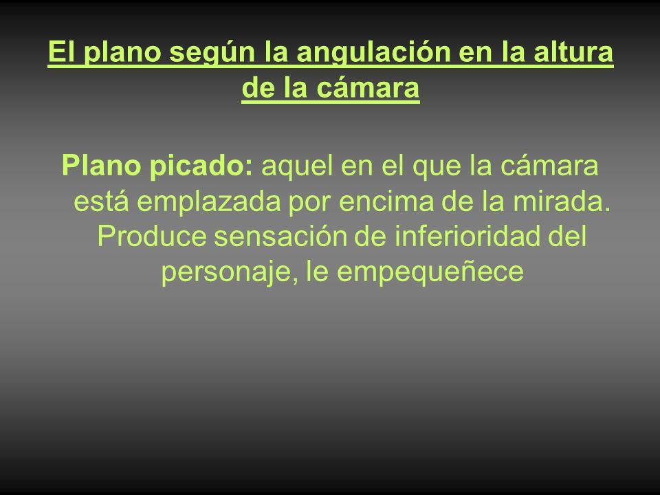 El plano según la angulación en la altura de la cámara Plano picado: aquel en el que la cámara está emplazada por encima de la mirada. Produce sensaci