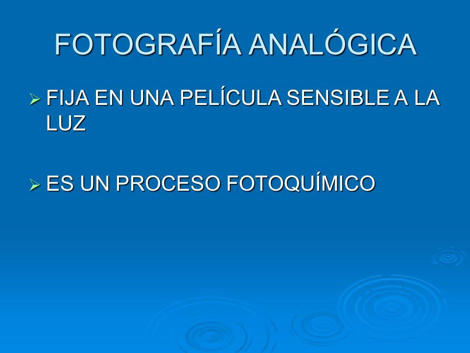 FOTOGRAFÍA ANALÓGICA FIJA EN UNA PELÍCULA SENSIBLE A LA LUZ FIJA EN UNA PELÍCULA SENSIBLE A LA LUZ ES UN PROCESO FOTOQUÍMICO ES UN PROCESO FOTOQUÍMICO