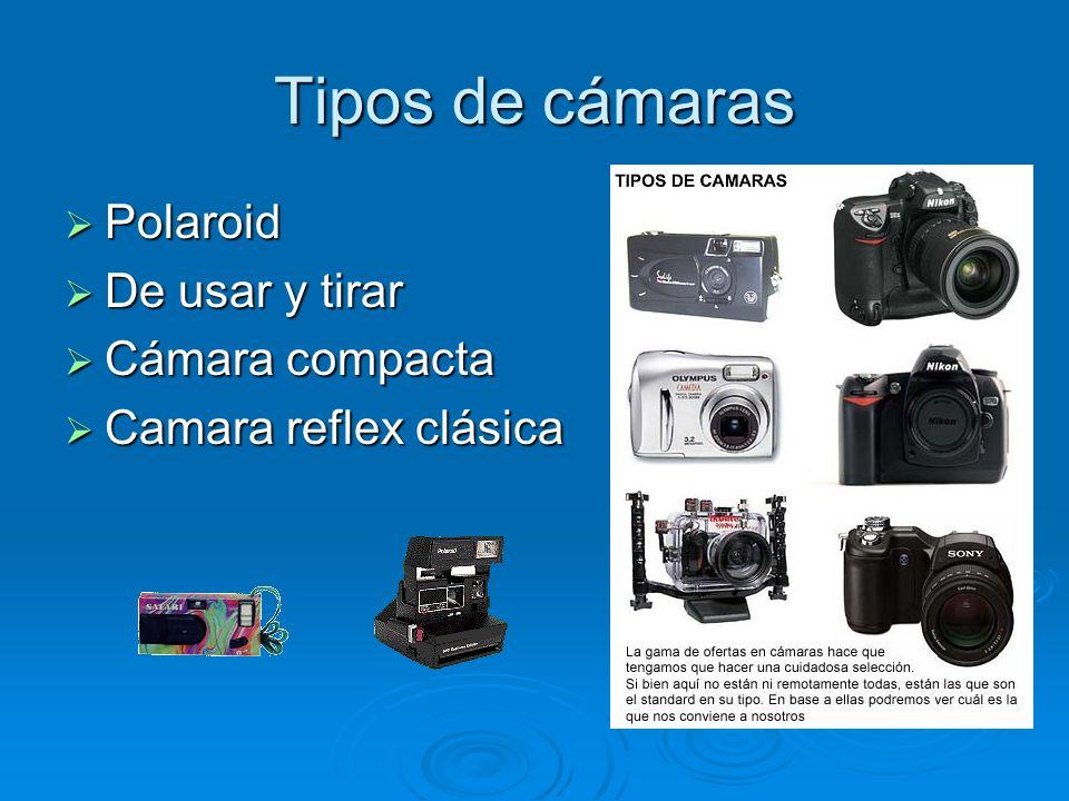 Tipos de cámaras Polaroid Polaroid De usar y tirar De usar y tirar Cámara compacta Cámara compacta Camara reflex clásica Camara reflex clásica