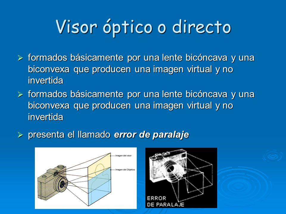Visor óptico o directo formados básicamente por una lente bicóncava y una biconvexa que producen una imagen virtual y no invertida formados básicamente por una lente bicóncava y una biconvexa que producen una imagen virtual y no invertida presenta el llamado error de paralaje presenta el llamado error de paralaje