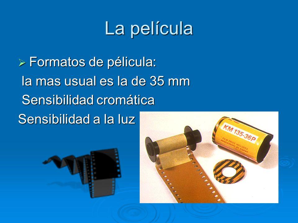 La película Formatos de pélicula: Formatos de pélicula: la mas usual es la de 35 mm la mas usual es la de 35 mm Sensibilidad cromática Sensibilidad cromática Sensibilidad a la luz