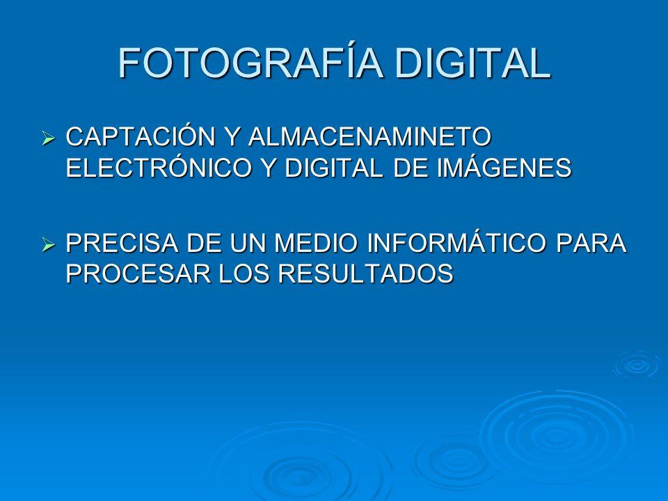 FOTOGRAFÍA DIGITAL CAPTACIÓN Y ALMACENAMINETO ELECTRÓNICO Y DIGITAL DE IMÁGENES CAPTACIÓN Y ALMACENAMINETO ELECTRÓNICO Y DIGITAL DE IMÁGENES PRECISA DE UN MEDIO INFORMÁTICO PARA PROCESAR LOS RESULTADOS PRECISA DE UN MEDIO INFORMÁTICO PARA PROCESAR LOS RESULTADOS
