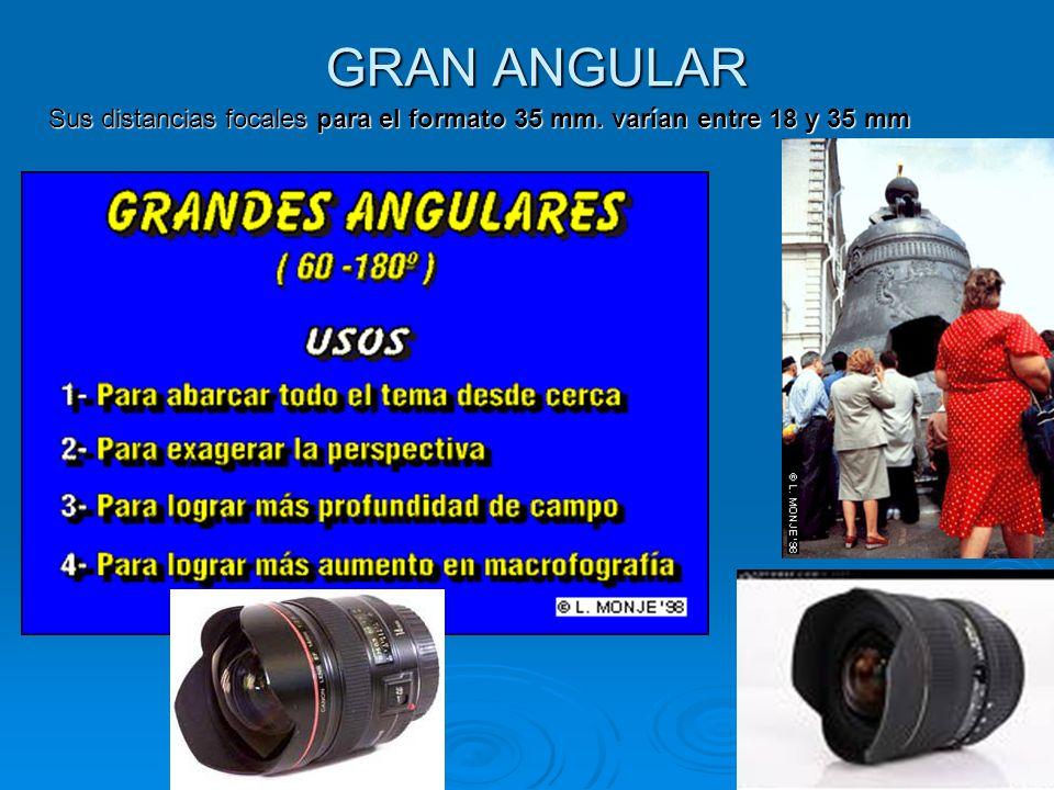 GRAN ANGULAR. Sus distancias focales para el formato 35 mm. varían entre 18 y 35 mm