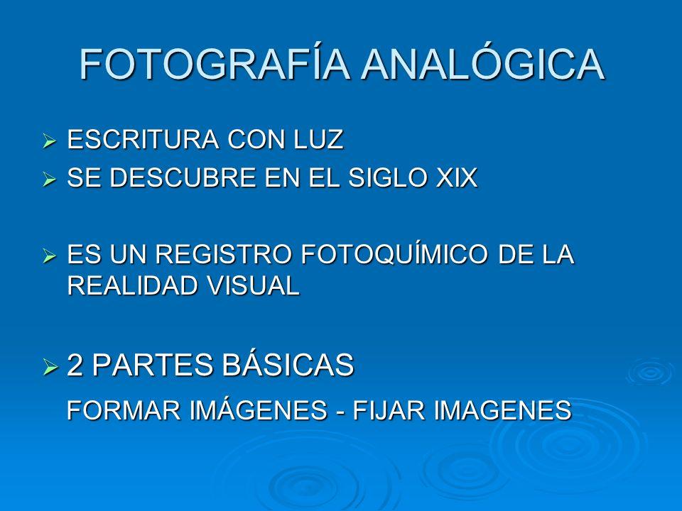 FOTOGRAFÍA ANALÓGICA ESCRITURA CON LUZ ESCRITURA CON LUZ SE DESCUBRE EN EL SIGLO XIX SE DESCUBRE EN EL SIGLO XIX ES UN REGISTRO FOTOQUÍMICO DE LA REALIDAD VISUAL ES UN REGISTRO FOTOQUÍMICO DE LA REALIDAD VISUAL 2 PARTES BÁSICAS 2 PARTES BÁSICAS FORMAR IMÁGENES - FIJAR IMAGENES FORMAR IMÁGENES - FIJAR IMAGENES