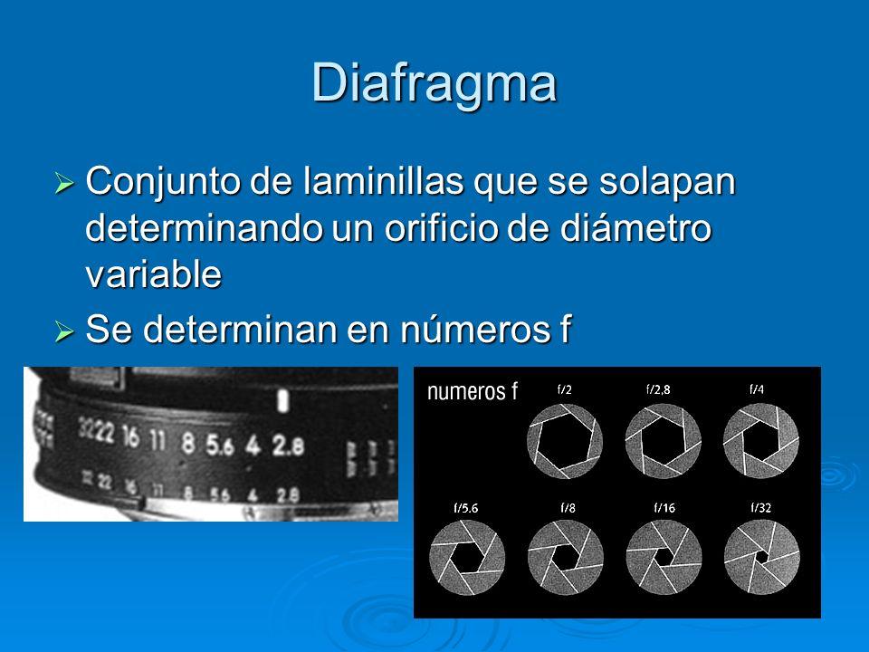 Diafragma Conjunto de laminillas que se solapan determinando un orificio de diámetro variable Conjunto de laminillas que se solapan determinando un orificio de diámetro variable Se determinan en números f Se determinan en números f